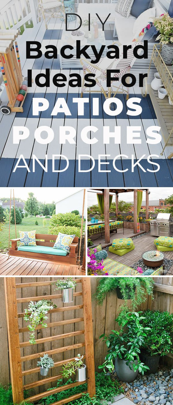 12 DIY Ideas for Patios, Porches and Decks - Tall Pin - 12 DIY Backyard Ideas For Patios, Porches And Decks • The Budget